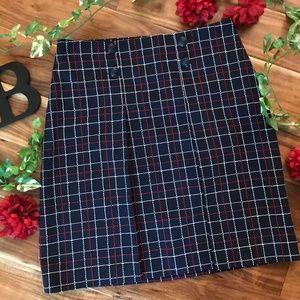 Brooks Brothers Skirt sz 8 Navy Blue Red Plaid